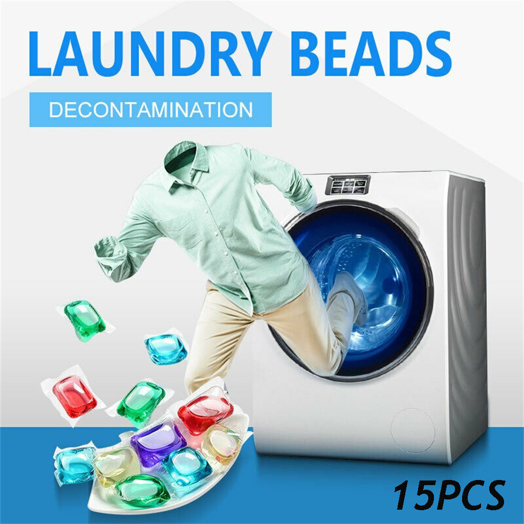 15pcs Laundry Ball Gel 8 Times Concentrated Portable Laundry Gel Bead Capsule Travel Washing Pod Laundry Cleaner