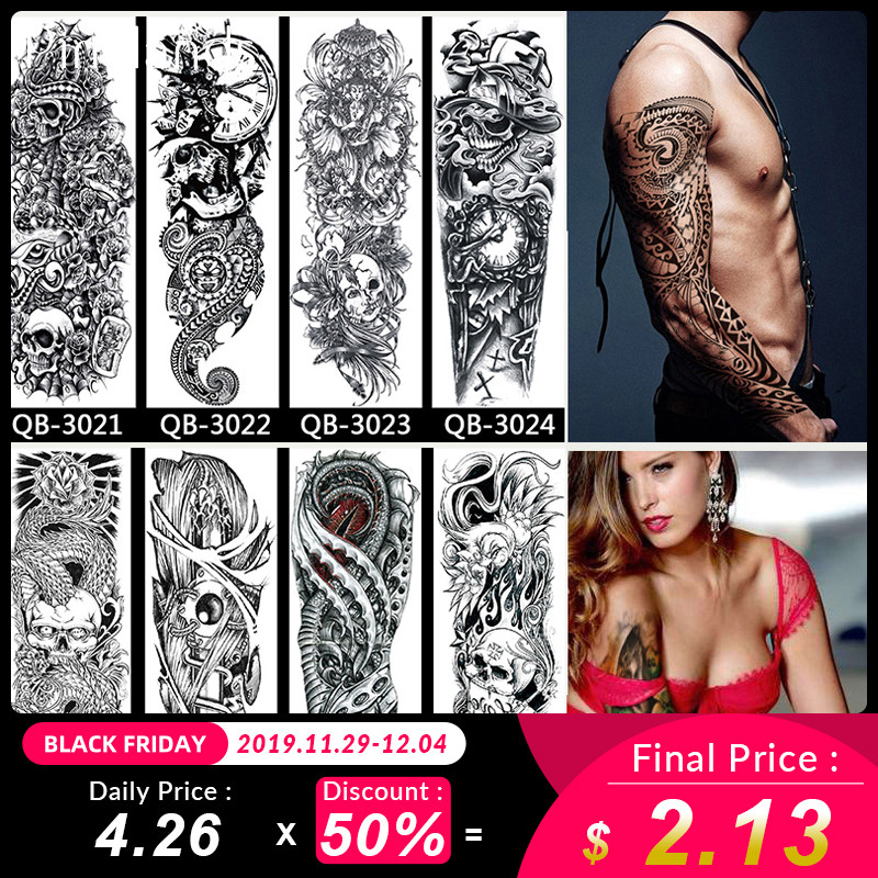 Waterproof Temporary Tattoo Sticker Large Arm Sleeve Tattoo Full Arm Skull Totem Tatto Stickers Fake Tattoos For Men Women
