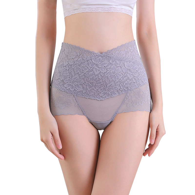 Women High Waist Panties Lace Breathable Body Shaper Slimming Tummy Underwear Tighten abdomen Sexy Transparent Seamless
