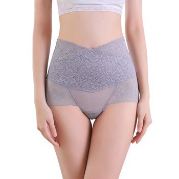 Women High Waist Panties Lace Breathable Body Shaper Slimming Tummy Underwear Tighten abdomen Sexy Transparent