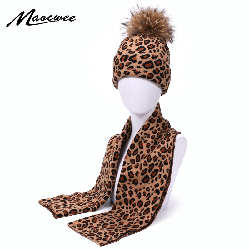 Fashion Leopard Print Beanie Hat And Scarf Set Autumn Winter Double Beanies Hats For Women Elasticity Warm Scarves Pom Pom Hat
