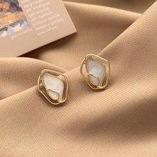 Koreański moda obudowa octan geometryczny nieregularny emalia stadniny kolczyki dla kobiet Trendy minimalizm biżuteria 2021 nowe śliczne kolczyki