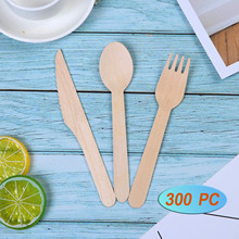 Cutlery-Set Tableware Spoon Disposable Wood Scoop Kitchen-Accessories Ice-Cream Coffee
