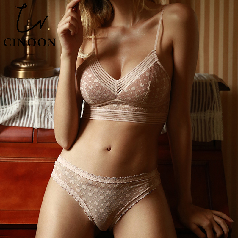 CINOON Intimates Lingerie Set Sexy/Women Bra Plus Size Push Up Open And Panty Sets Lenceria Sexy Small Girl Underwear Set