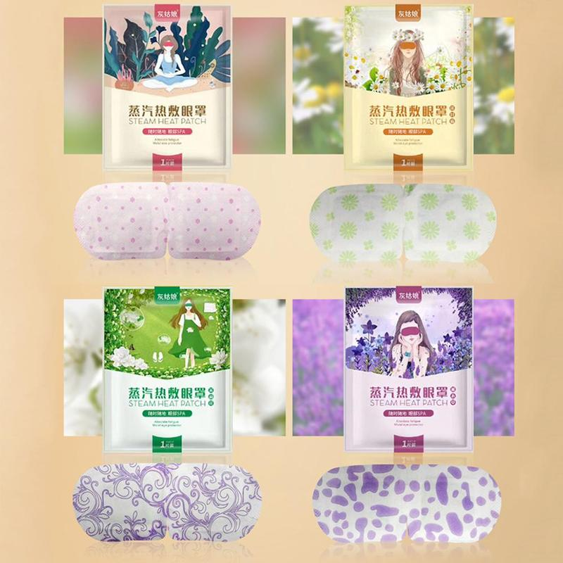 Chamomile lavender steam eye mask 41 degrees low temperature heat soft caress remove dark circle relieve eye fatigue wet eyes