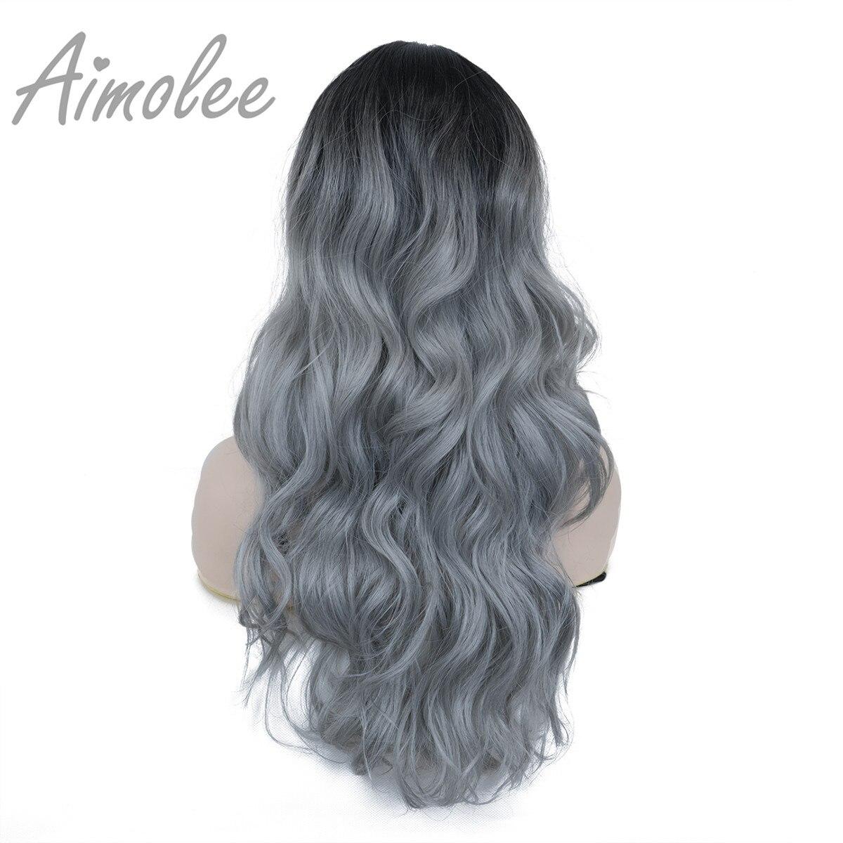 cor azul sintético natural longo encaracolado parte