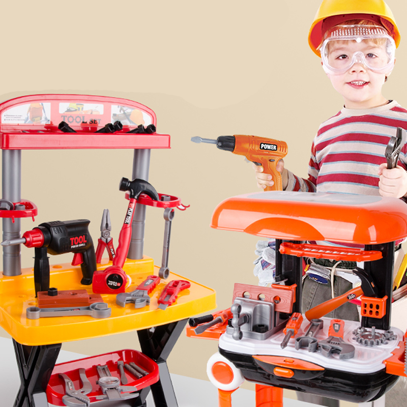 Play House Children's Toolbox Toy Set Screwdriver Simulation Repair Platform Boy Baby Drill  Carpenter Tools Without Battery