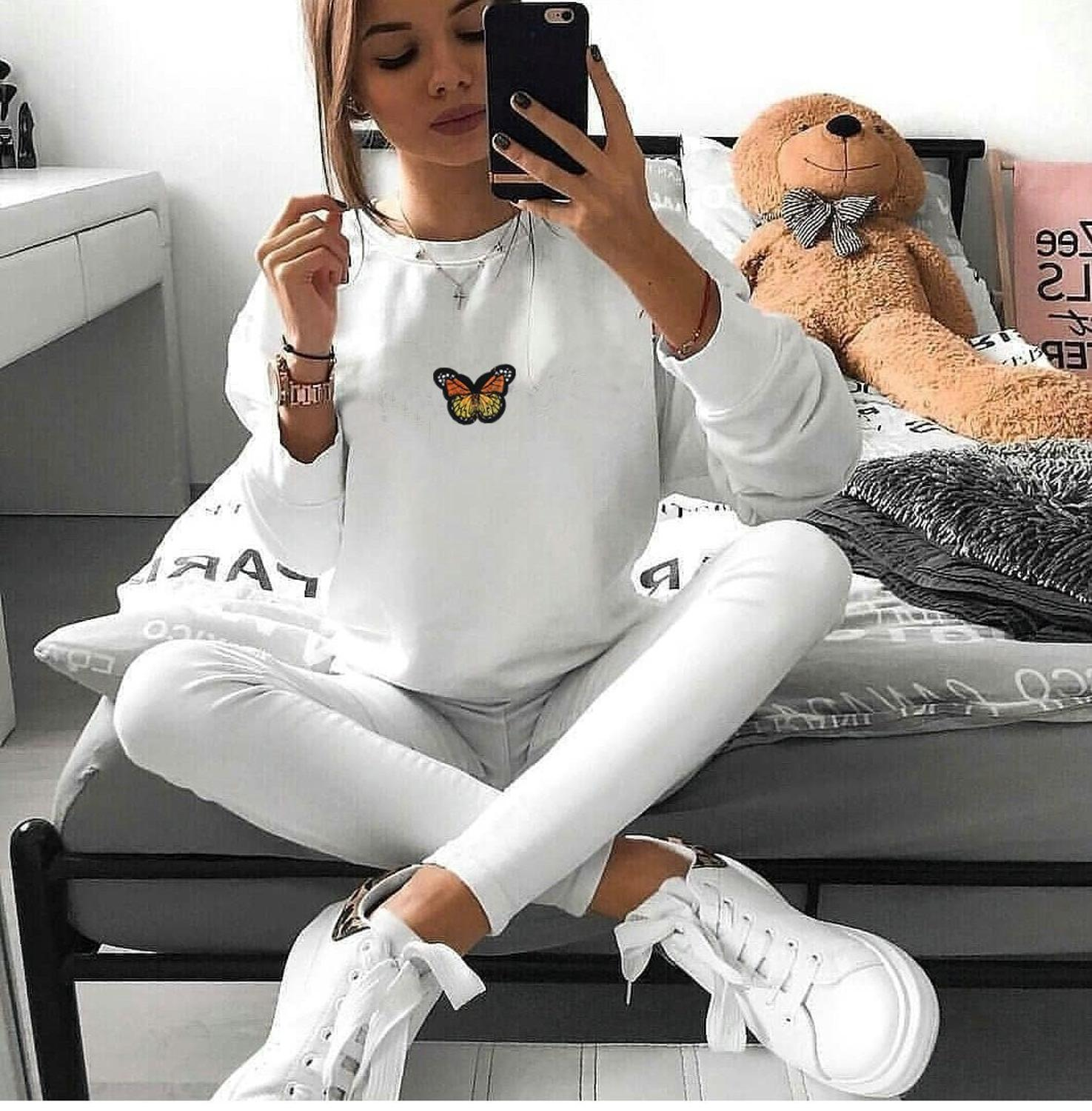 Momoluna Autumn Sweatshirt Women Butterfly Embroidery White Black Gray Red Long Sleeve Pullovers Ladies Casual Tops Hoodies