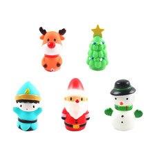 5Pcs Christmas Finger Puppets Toys Santa Claus Snowman Cartoon Finger Plaything