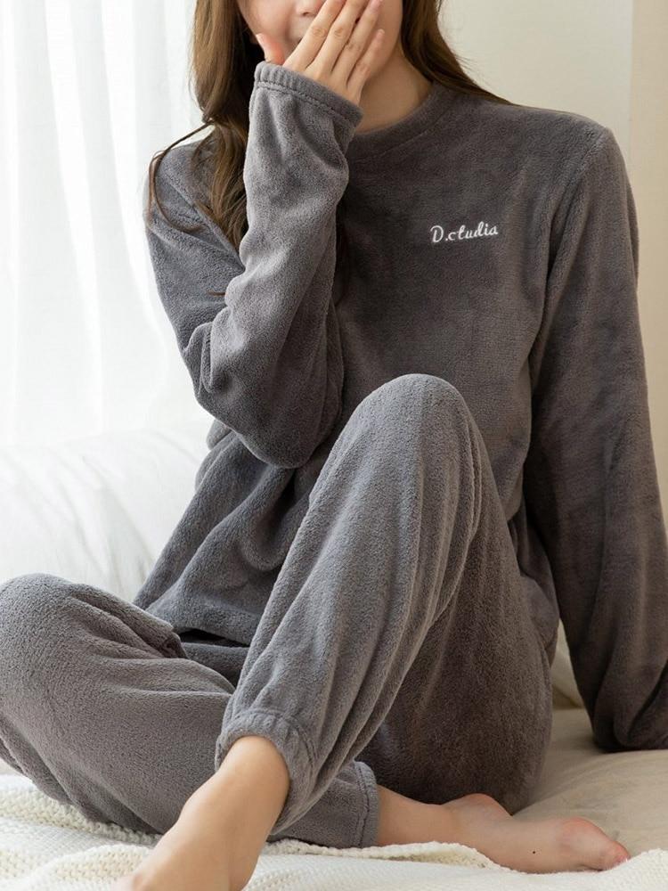 Flannel Pajamas Suit Hoodies Sweatshirt Homewear Warm Thick Winter Women Solid