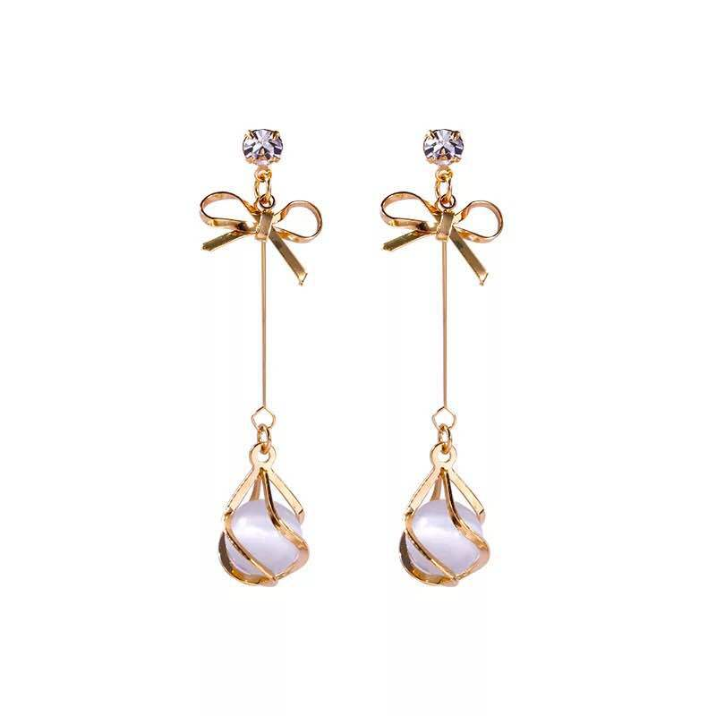 Earrings Rhinestone Jewellery Dropper Wedding Women Crystal Fashion Bow-Knot For Party