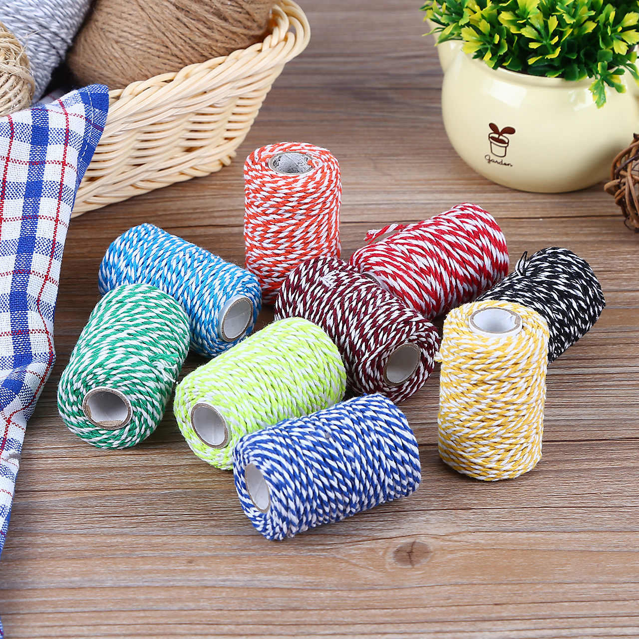 DIY Twisted Cords Gift Packaging Accessories Packing Decoration Wedding Party Packaging Double Color Cotton Baker Twine Rope