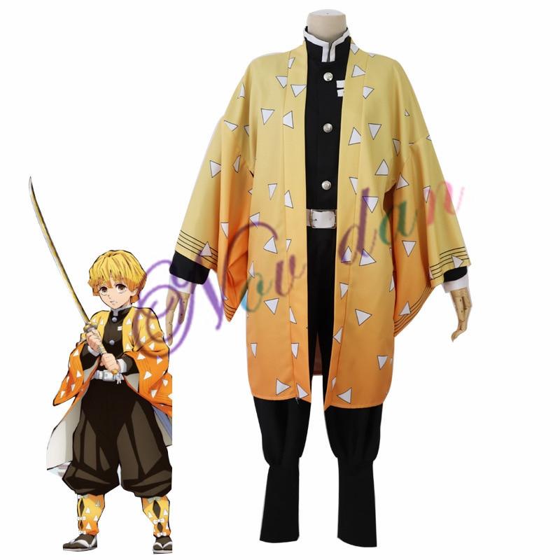 Костюм для косплея из аниме «киметсу но айба», костюм для ролевых игр с рассекающим демонов, одежда Zenitsu, кимоно на Хэллоуин для взрослых муж...