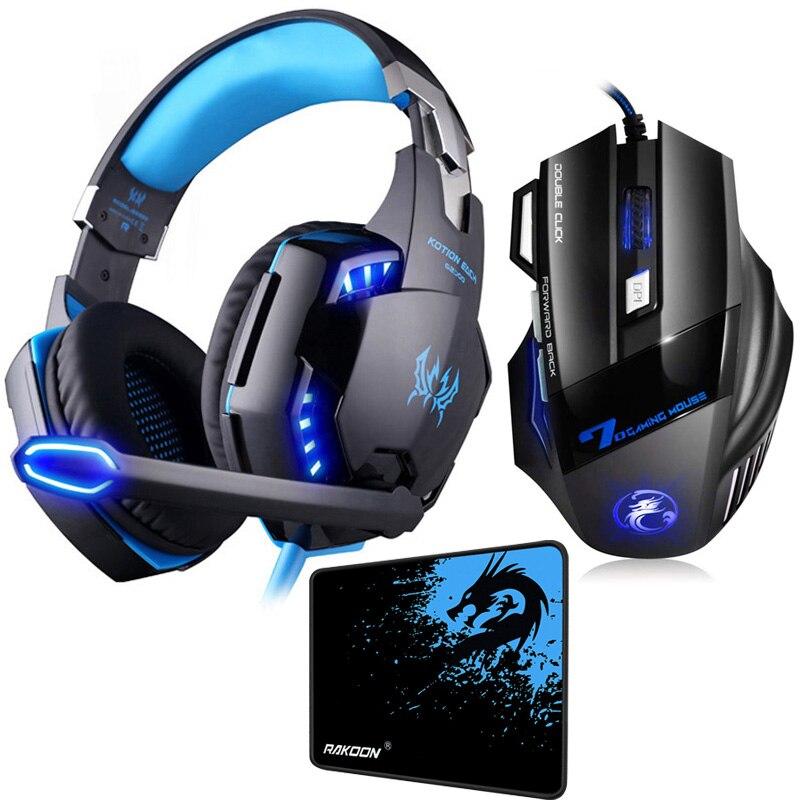 In Lager 5500 DPI X7 Pro Gaming Maus + Hifi Pro Gaming Kopfhörer Spiel Headset + Geschenk Große Gaming Mauspad Für Pro Gamer