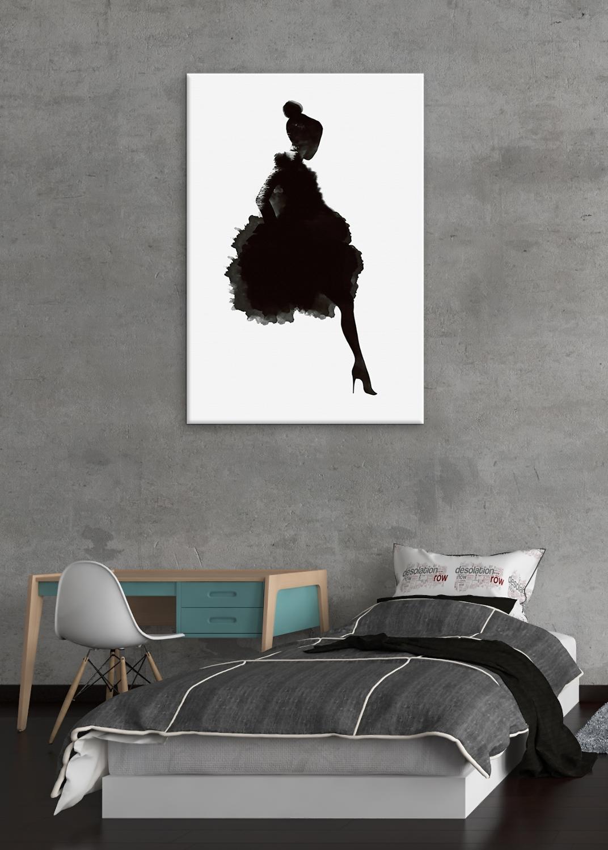 Черно белая абстрактная девушка, Настенный декор, холст, живопись, кухня, принты, картины для дома, гостиной, столовой - 4
