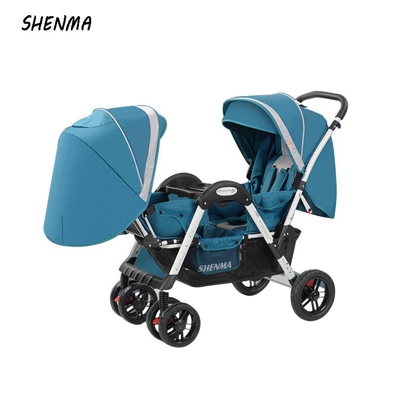 SHENMA-poussette pliable pour deux bébés, pour deux enfants, peut s'asseoir et s'allonger la lumière, quatre saisons d'utilisation, livraison gratuite