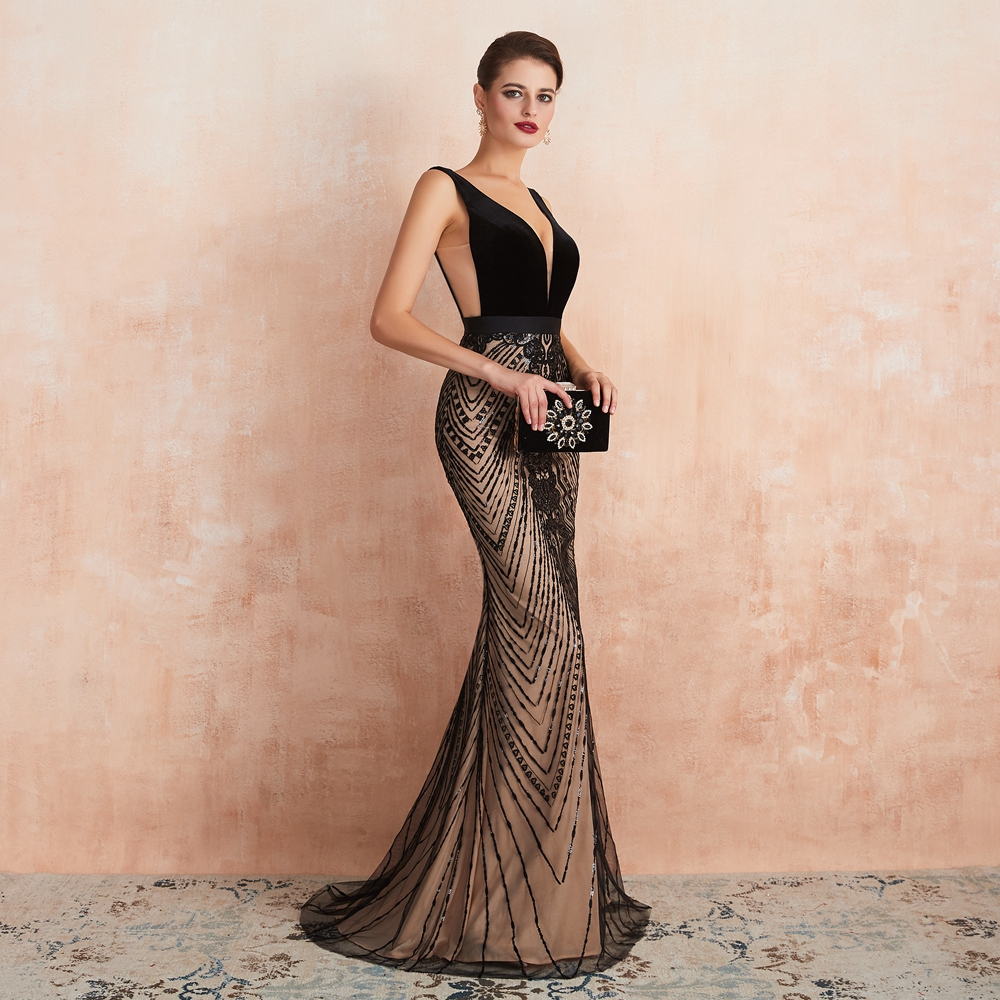 Elegant Black Slit Lace See Through Bodycon Long Evening Dress 4