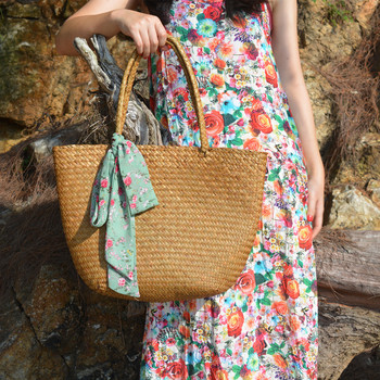 Casual straw bag tote natural wicker bags women large capacity beach braided handbag for garden handmade woven rattan
