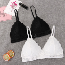 1/2PCS French Style Bralette Seamless Deep V Lace Bra Wireless Thin Underwear Se