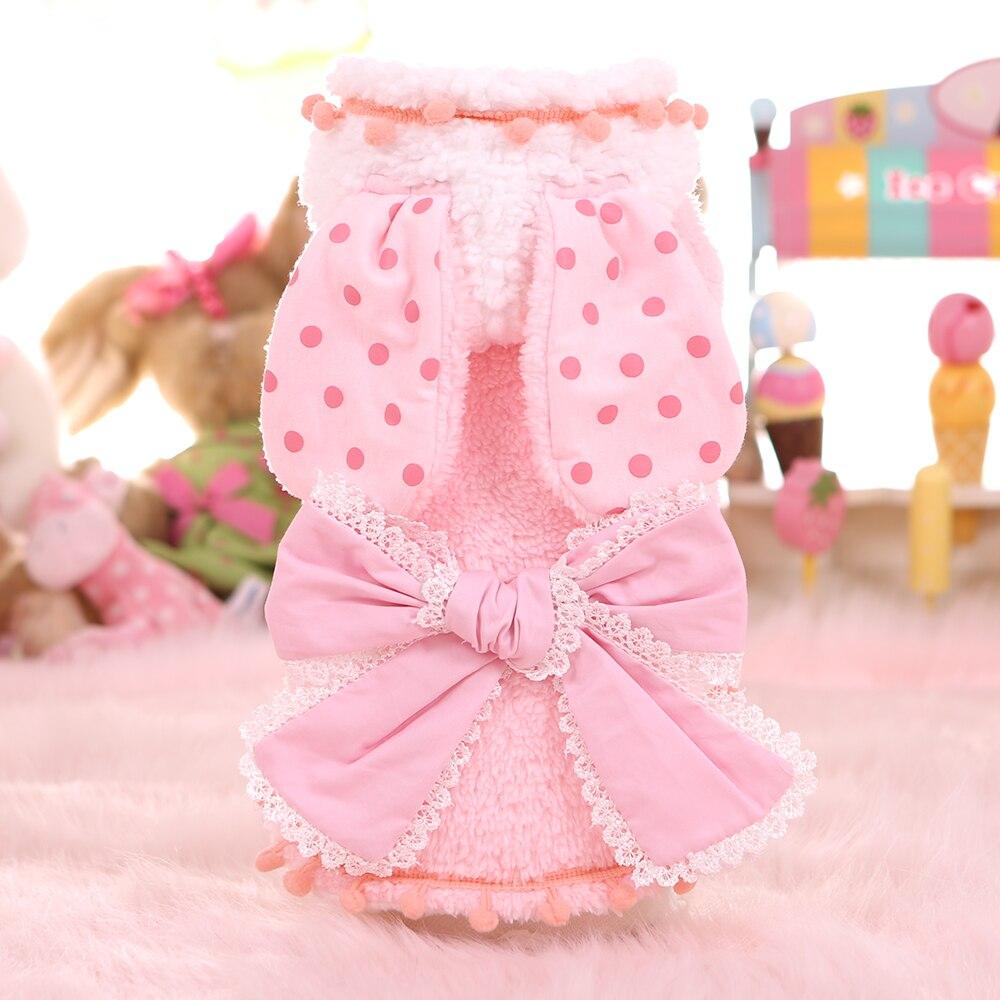 Кролик с большими ушами Пасхальный костюм на Хэллоуин для маленьких средних собак милые зимние теплые флисовый, для Питомца Кошка накидка, чехол для собак Щенок Одежда Рубашка - Цвет: Розовый