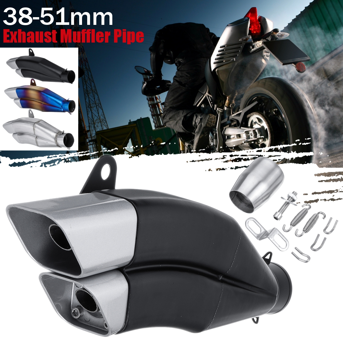 Motorcycle Exhaust Pipe Universal Motorcycle Racing Outlet Muffler Modified Retro Tail Exhaust Pipe