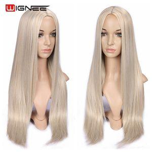 Image 5 - Wignee długie proste włosy peruka syntetyczna dla kobiet blond naturalne środkowa część włosów żaroodporne FiberNatural codzienne włosy peruka