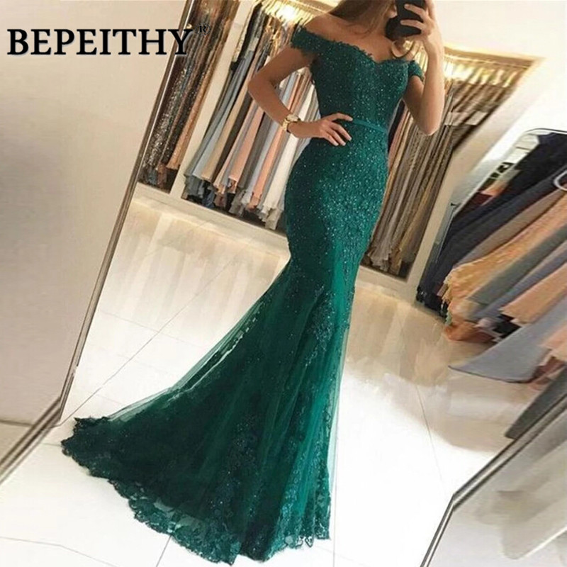 BEPEITHY 2020 Mermaid Green Lace Long Prom Dresses Off The Shoulder Vintage Sexy Evening Dress Party Gown Vestidos De Festa