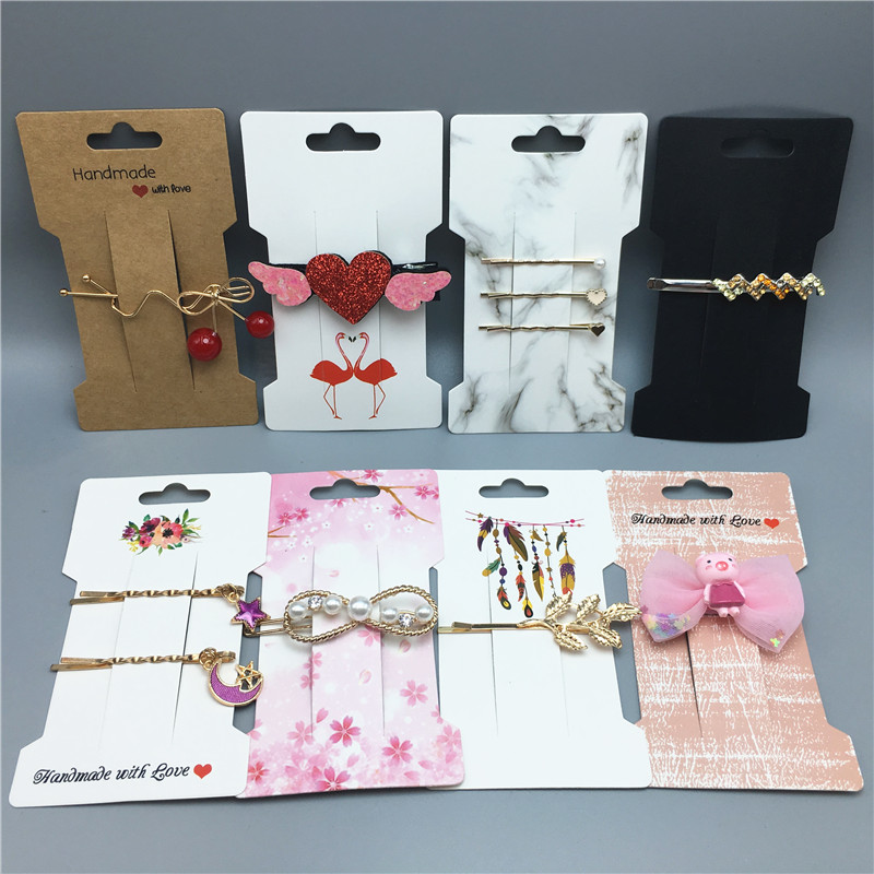 12pcs New Creative Hairpin Brooch Packaging Paper Card Exquisite Jewelry Hair Claw Display Sale Card+12pcs Opp Bag
