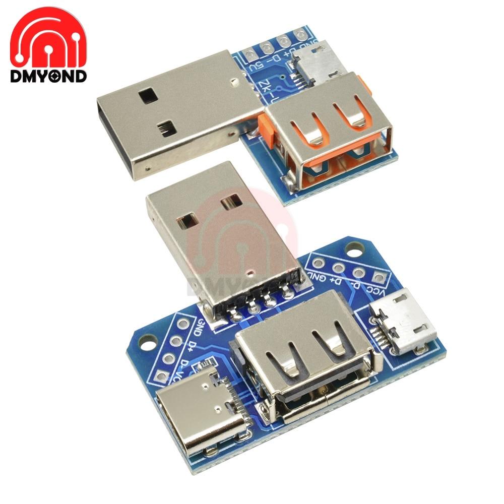 USB конвертер Стандартный USB для мужчин и женщин к Micro USB к type-C 4P 4 шпильки терминальный адаптер платы PCB 2,54 мм 2,54 мм