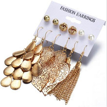 WKOUD 6 Pairs/Sets Vintage Gold Color Leaves Long Tassel Simulated Pearl Stud Earrings Set For Women New Brincos Jewelry(China)