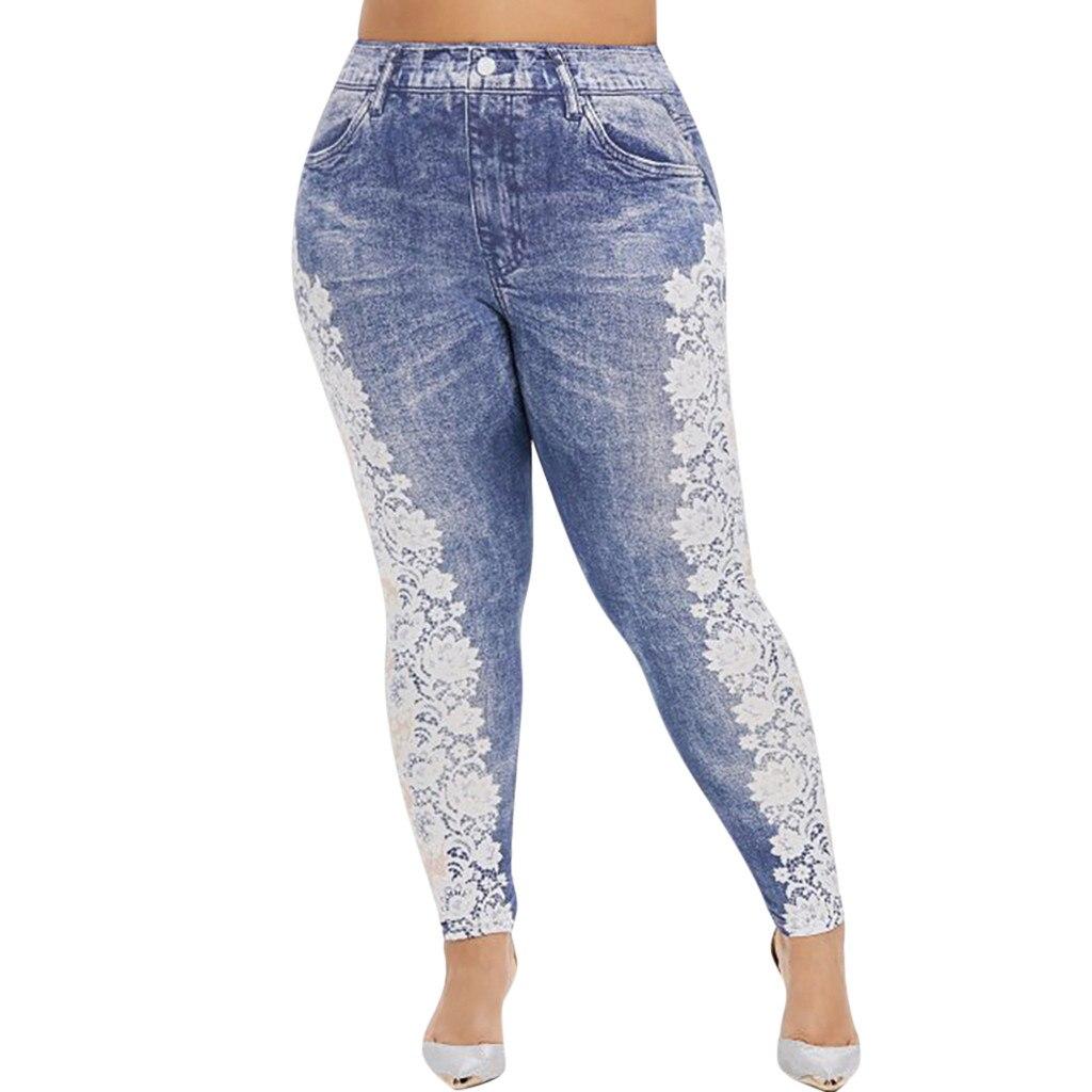 Jaycosin New Fashion Ladies Casual Lmitation Cowboy Pocket Jeans Elastic Stretch Thin Female Soft Loose Leggings Innrech Market.com