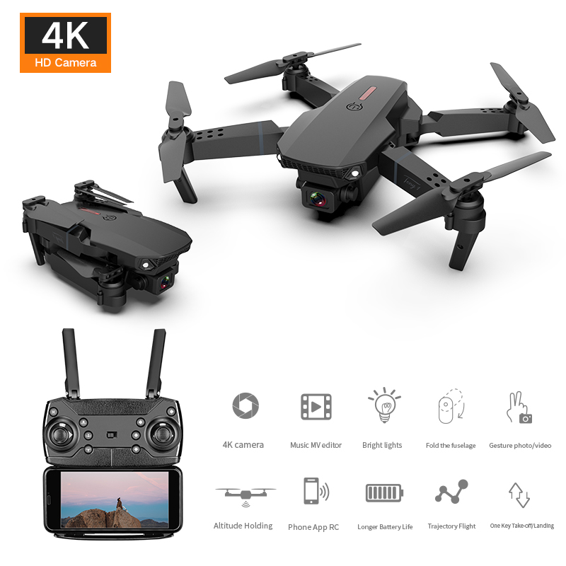E88 Mini RC Drone Folding Aerial Photography Aerial Vehicle 720P 4K HD Wide Dual Camera Real-time Transmission RC Quadcopter