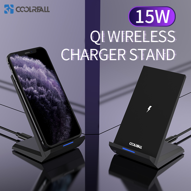 Coolreall 15w Wireless Charger Stand  For iPhone 11 Pro XS X 8 Samsung S10 S9 S8 Fast Wireless Charging Station Phone Charger|Wireless Chargers| |  - title=