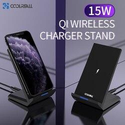 Coolreall 15w bezprzewodowa ładowarka do iPhone 11 Pro XS X 8 Samsung S10 S9 S8 szybka bezprzewodowa stacja ładująca ładowarka do telefonu w Ładowarki bezprzewodowe od Telefony komórkowe i telekomunikacja na