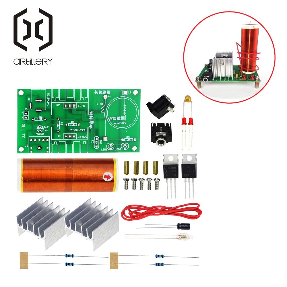 1 ensemble Mini Kit de bobine Tesla 15W Mini musique Tesla bobine Plasma haut-parleur Tesla Transmission sans fil DC 15-24V bricolage Kits