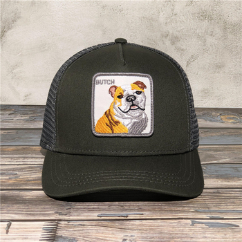 Textured Muscled Dog Animal Embroidery Mesh Baseball Cap Unisex Lovely Baseball Caps Snapback Cap Dad Hat bone gorras Caps недорого