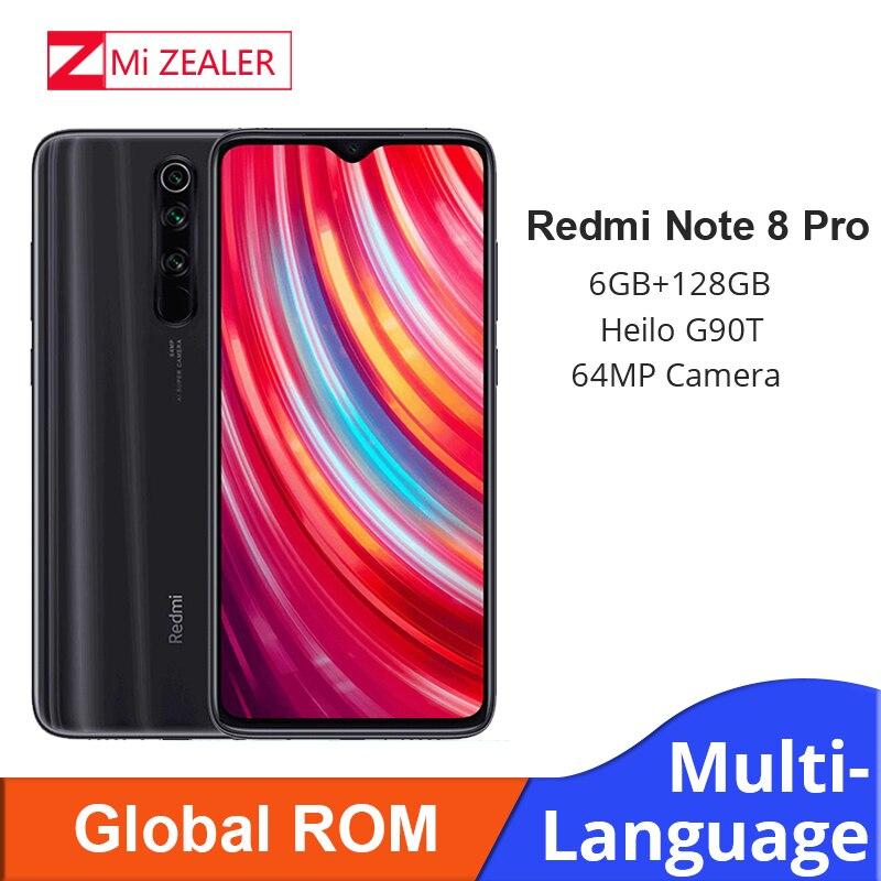 In Stock! New Global ROM Xiaomi Redmi Note 8 Pro 6GB RAM 128GB ROM 4500mah Smartphone 64MP Camera MTK Helio G90T Cellphone