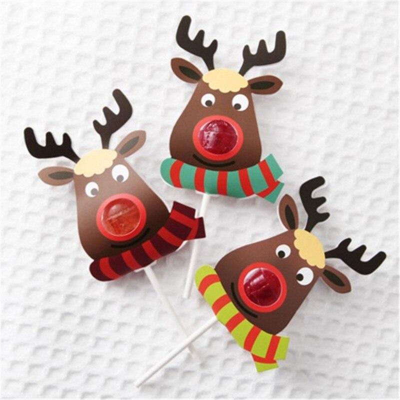 25 Pcs/Set Lovely Elk Lollipop Xmas Paper Holder Festival Christmas Gift For Children New Year Novelty Toy