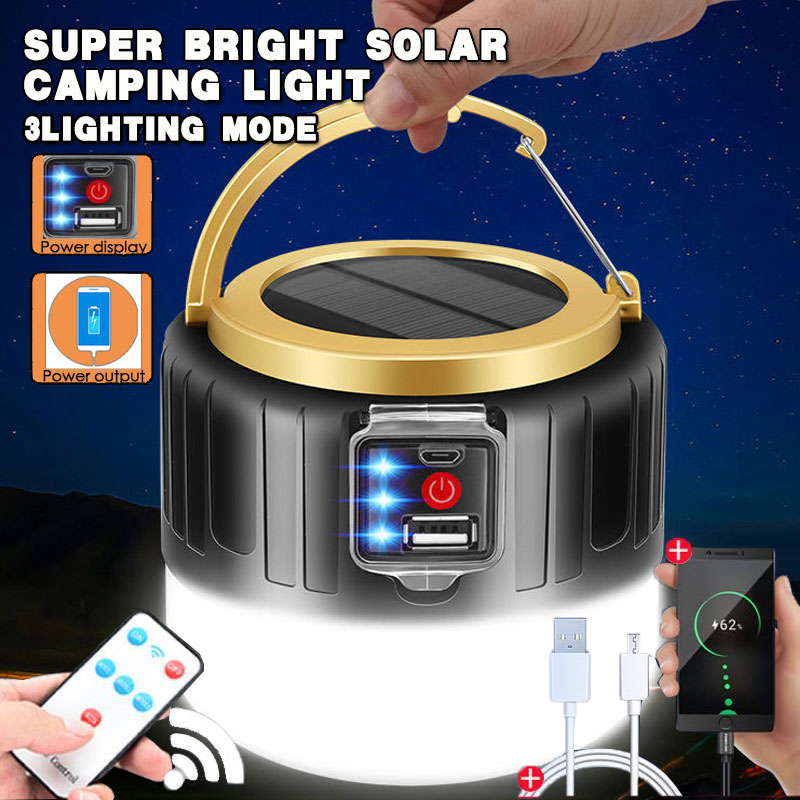 100w LED Solar Charging Bulb Energy saving Bulb Lamp Night Market Lamp Mobile Outdoor Camping solar Power Outage Emergency Light