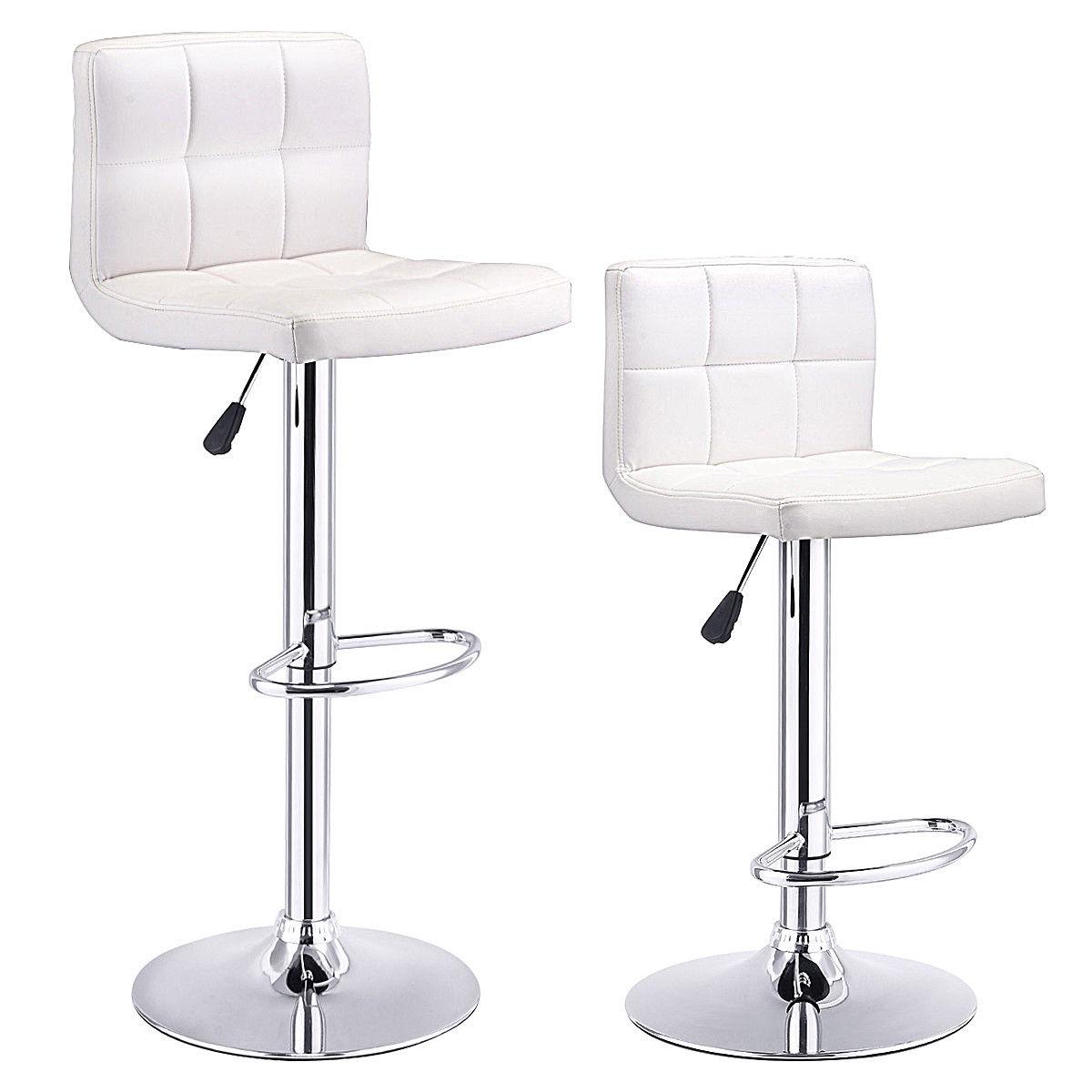 Costway Set Of 2 Bar Stools PU Leather Adjustable Barstool Swivel Pub Chairs White
