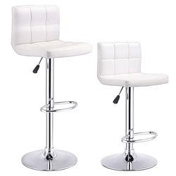 Juego Costway de 2 Taburetes de Bar de cuero PU, taburete de Bar ajustable, sillas de Bar giratorias, blanco