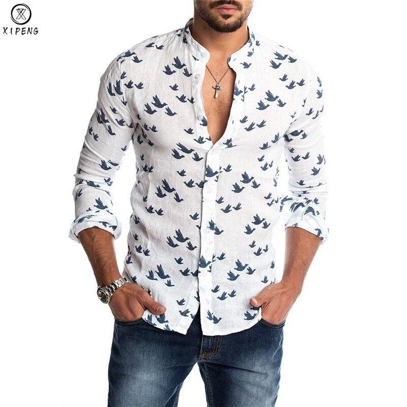 New Spring Mens Fashion Duck Printed Shirts Autumn Slim Fit Button Placket Korean Cut Collar Long Sleeve Male Social Business