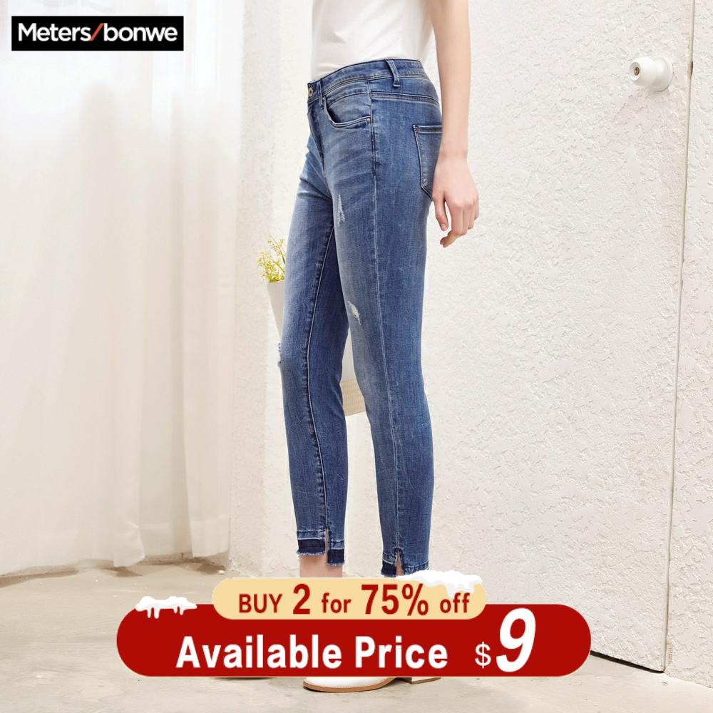 Metersbonwe Slim Jeans For Women Jeans Hole Design Woman Blue Denim Pencil Pants Casual High Quality Stretch Waist Women Jeans