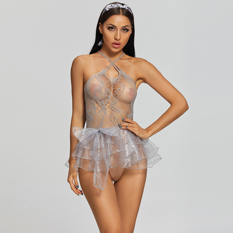 Соблазнительные женские фатиновые костюмы, соблазнительные прозрачные кружевные модные комплекты нижнего белья с бантом, нижнее белье, фо...