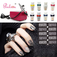 Airbrush For Nails Art Aerograph Compressor Kit Nail Makeup Cosmetics With 8 Colors Painting Pigments 10 Air brush Stencils