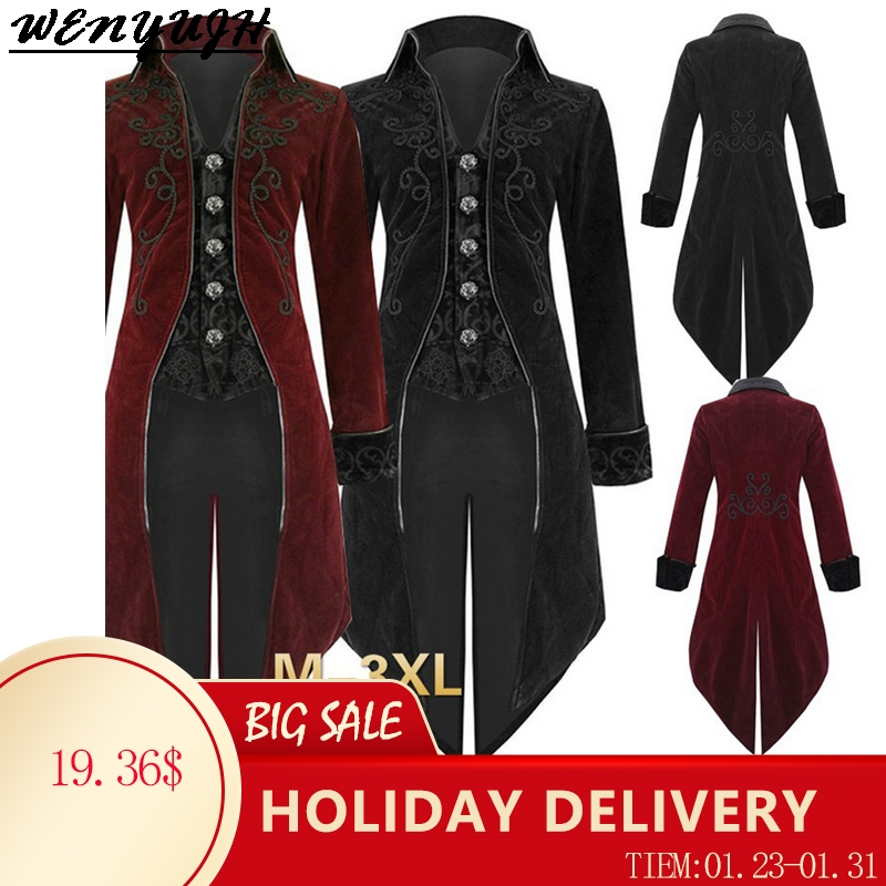 2020 Autumn Hot Men Vintage Gothic Long Jacket Men Retro Cool Costume Trench Coat Steampunk Tailcoat Button Coat Male