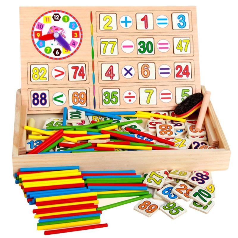 Kids Maths Teaching Box Set Children Wooden Number Counting Math Toy Baby Mathematics Sticker Calculate Game Toy Education Block