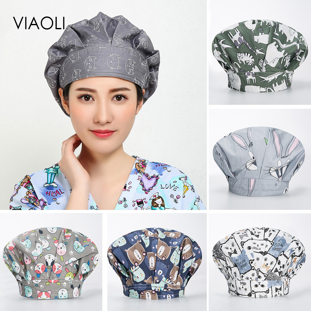 Operating Room Hat Surgical Cap For Long Hair Pet Hospital Doctor Surgery Caps Medical Supplies Hat Nursing Scrubs Cap Women New