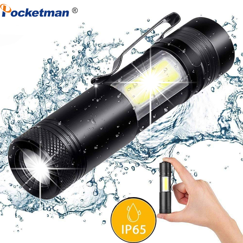 Super Bright Adjustable Led Torch Flashlight 3800LM XML-Q5+COB LED Flashlight Use AA 14500 Battery Waterproof  For Fishing