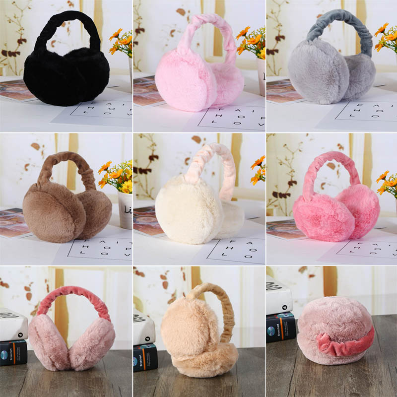 Earmuff Plush Warm Foldable Solid Color Gift For Winter Women Lady Sport Outdoor EIG88